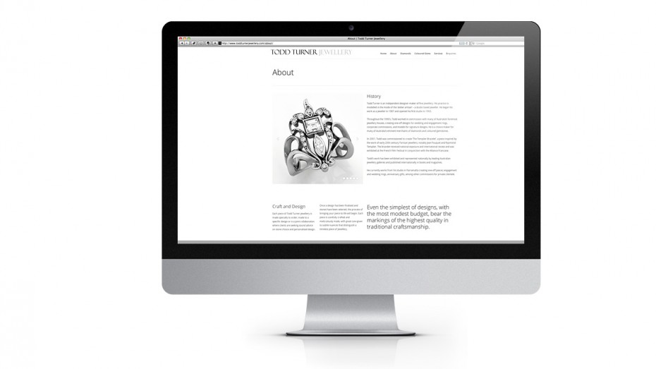 Todd Turner Jewellery website page